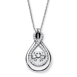 PalmBeach Platinum over Sterling Silver 1 1/4ct Cubic Zirconia 'CZ in Motion' Double Loop Necklace Classic CZ