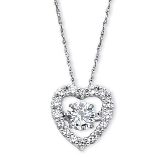 PalmBeach Platinum over Sterling Silver 1 1/2ct Round Cubic Zirconia 'CZ in Motion' Heart Pendant Classic CZ