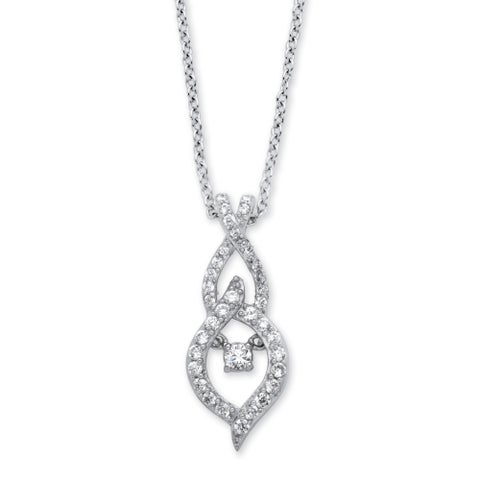 Sterling Silver 4/5ct Marquise-Shaped 'CZ in Motion' Cubic Zirconia Drop Necklace Classic