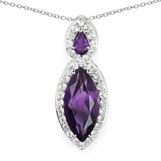 Malaika 3.53 Carat Genuine Amethyst and White Topaz .925 Sterling Silver Pendant