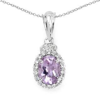 Olivia Leone 2.22 Carat Genuine Amethyst and White Topaz .925 Sterling Silver Pendant