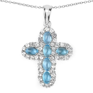 Malaika 6.40 Carat Genuine Swiss Blue Topaz and White Topaz .925 Sterling Silver Pendant