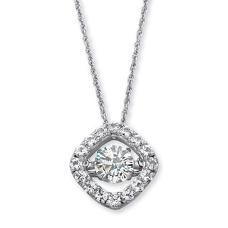 PalmBeach Platinum over Sterling Silver 1 1/2ct Round 'CZ in Motion' Cubic Zirconia Halo Necklace Classic CZ