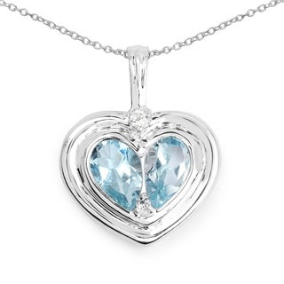 Malaika 2.66 Carat Genuine Blue Topaz and White Topaz .925 Sterling Silver Pendant