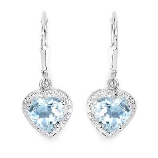 Malaika 4.00 Carat Genuine Blue Topaz .925 Sterling Silver Earrings