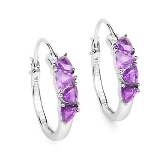 Olivia Leone 2.00 Carat Genuine Amethyst .925 Sterling Silver Earrings