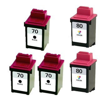 5PK 12A1970 ( #70 ) 12A1980 ( #80 ) Compatible Ink Cartridge For Lexmark X125 X4212 X4250 X4270 X63 X73 X83 X85 (Pack of 5)
