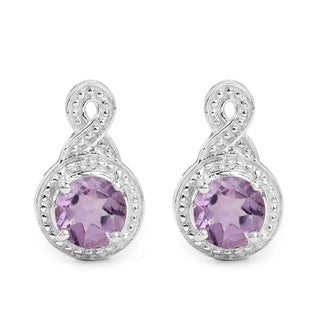 Malaika 1.46 Carat Genuine Amethyst .925 Sterling Silver Earrings