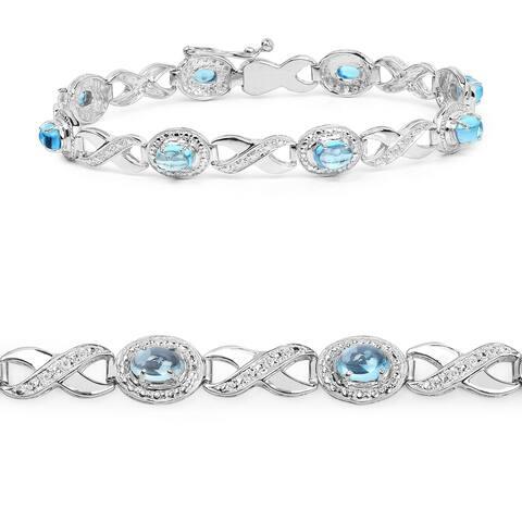 Olivia Leone 5.60 Carat Genuine Swiss Blue Topaz .925 Sterling Silver Bracelet