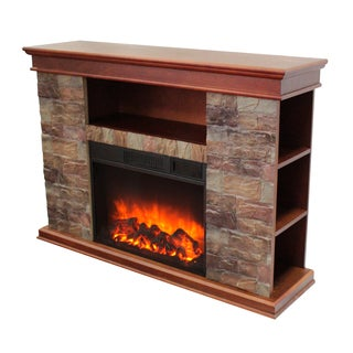Sanibel Polystone Electric Fireplace with Media Slot