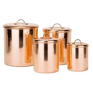 Old Dutch 4 Piece Polished Copper Canister Set