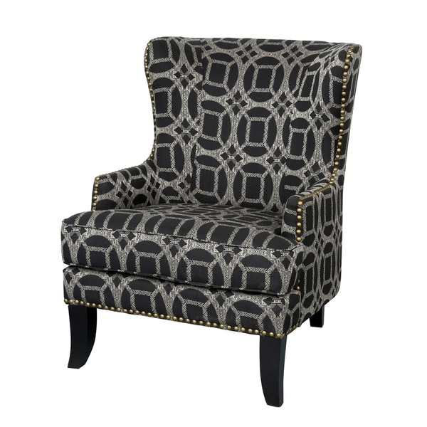 Shop Porter Grant Marble Cream And Black Wingback Accent Chair