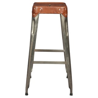 Wanderloot Florian Industrial Metal and Leather 30-inch Barstool (India)