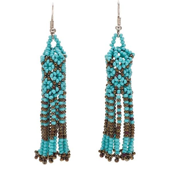 Handmade Hand Beaded Native Dangling Earrings Guatemala
