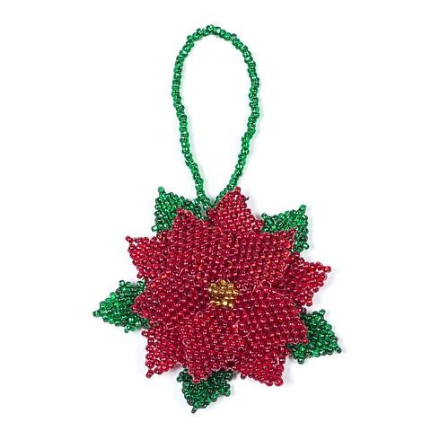 Hand Beaded Poinsettia Christmas Ornament