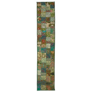 Timbuktu Hand Crafted Green Cotton and Poly Recyled Sari Table Runner
