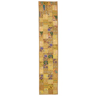 Timbuktu Hand Crafted Gold Cotton and Poly Recyled Sari Table Runner