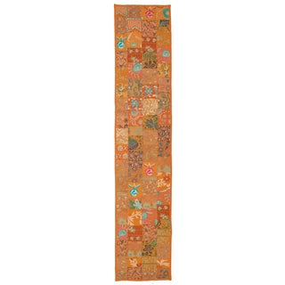 Timbuktu Hand Crafted Orange Cotton and Poly Recyled Sari Table Runner