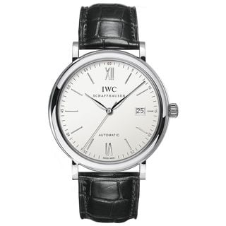 IWC Men's IW356501 'Portofino' Automatic Black Leather Watch