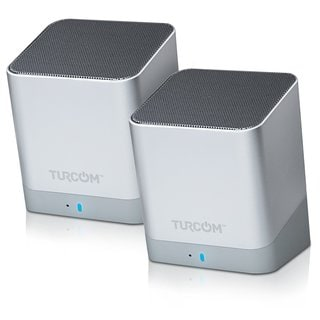 Turcom TS-459 Portable Silver Dual Driver Contemporary Bluetooth Loud Speakers