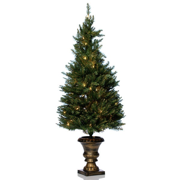 4 artificial christmas porch tree for indooroutdoor use free shipping today overstockcom 17702693 - Outdoor Artificial Christmas Trees