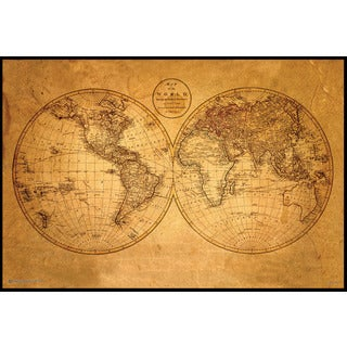 Old World Map (24 x 36-inch) On a Woodmount - Black
