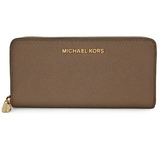 Michael Kors Jet Set Travel Dark Dune Zip Around Continental Leather Wallet