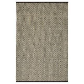 Indo Hand-woven Karma Checkered Brown and Almond Flatweave Area Rug (5' x 8')