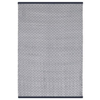 Indo Hand-woven Karma Checkered Indigo and White Flatweave Area Rug