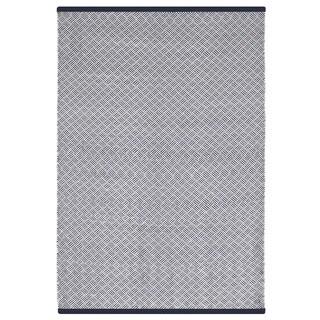 Indo Hand-woven Karma Checkered Indigo and White Flatweave Area Rug (5' x 8')