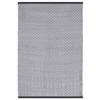 Indo Hand-woven Karma Checkered Indigo and White Flatweave Area Rug - 5' x 8'