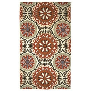 Indo Hand-woven Mirabell Floral Flatweave Area Rug (4' x 6')