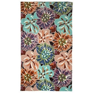 Indo Hand-woven Burtchart Floral Flatweave Area Rug (8' x 10')