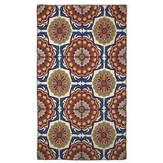 Indo Hand-woven Majorelle Floral Flatweave Area Rug (4' x 6')