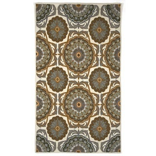 Indo Hand-woven Veldheer Floral Flatweave Area Rug (4' x 6')