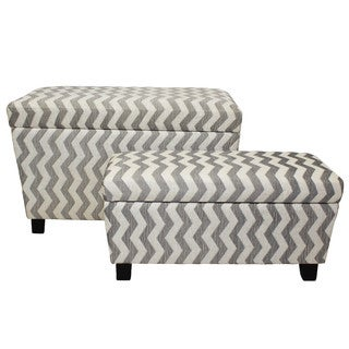 Zoe Chevron Fabric Storage Ottoman (Set of 2)