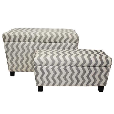 Zoe Chevron Fabric Storage Ottoman (Set of 2)