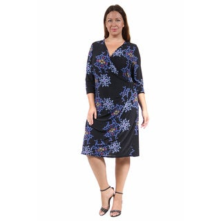 24/7 Comfort Apparel Women's Plus Size Blue & Black Fall Floral Printed Dress