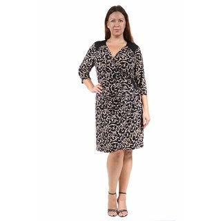 24/7 Comfort Apparel Women's Plus Size Cream&Black Swirled Print Wrap Dress