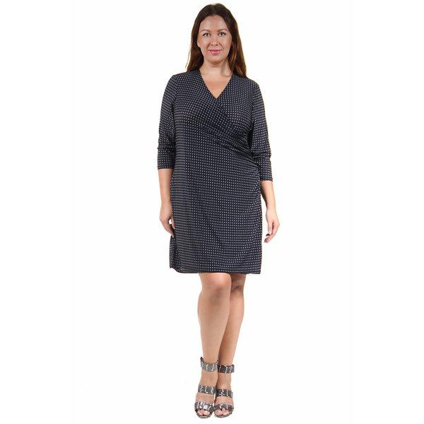 20e494c825a Shop 24 7 Comfort Apparel Women s Plus Size Grey Polka-Dot Print ...