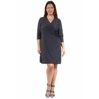 24/7 Comfort Apparel Women's Plus Size Grey Polka-Dot Print Faux Wrap Dress
