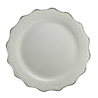 "10 Strawberry Street Oxford Cream Dinner Plate 11"" Set of 6"