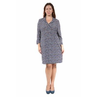 24/7 Comfort Apparel Women's Plus Size Fall Mosaic Collared Henley Dress