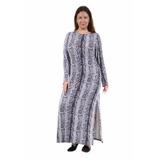 24/7 Comfort Apparel Women's Plus Size Snakeskin Printed Maxi Dress