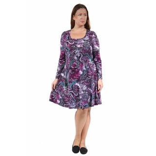 24/7 Comfort Apparel Women's Plus Size Cool Paisley Sheath Dress