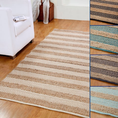 Hand-woven Natural Jute and Cotton Artisan Rug (5' x 8') - 5' x 8'