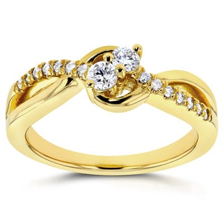 Annello by Kobelli Two Collection 14k Yellow Gold 1/4ct TDW Diamond 2-stone Ring