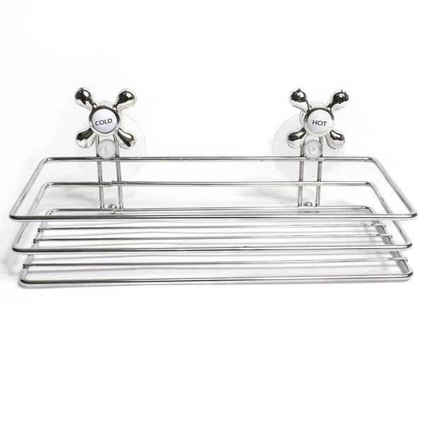 "Durable Chrome Shower Caddy with Suction Lock with Charming Decorative ""Hot & Cold"" Knobs"