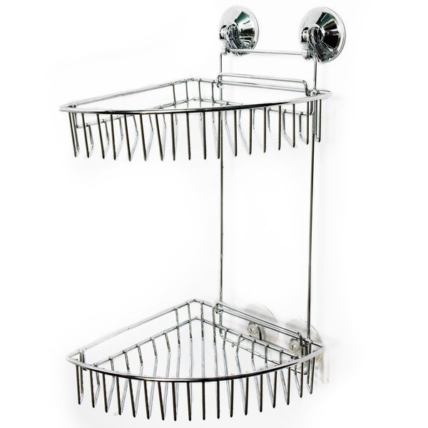 Durable Chrome Two-Tier Suction Lock Corner Shower Caddy