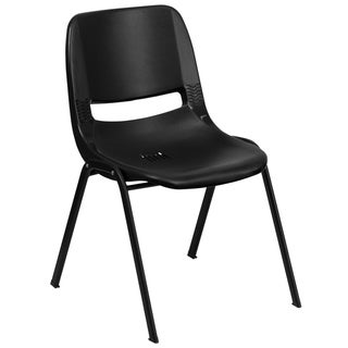 "440 lb. Rated Kid's Black Contour Shell Stack Chair-Black Frame-14"" Seat Height"